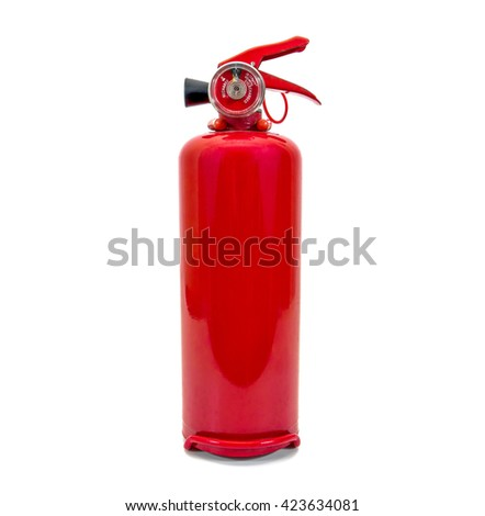 Small fire extinguisher isolated on white background - stock photo