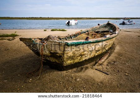 Small fishing boat at Cabanas de Tavira, Portugal.