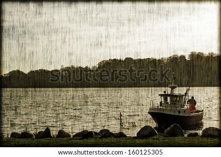 Small fishing boat closeup and in a vintage style - stock photo