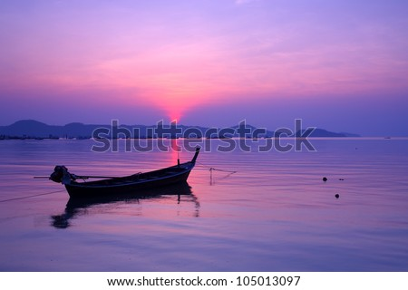 Small fishing boats marina at the morning light in the south, Thailand