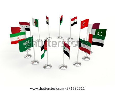 small Flags countries in a circle. 3d illustration on a white background. - stock photo