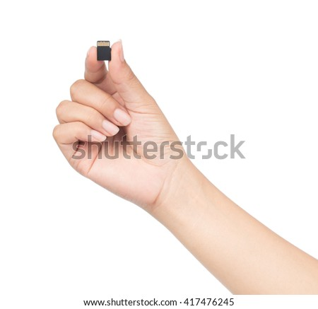 Small Flash card in hand isolated on white background