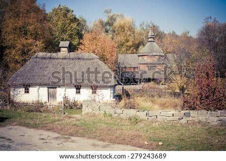 Small folk cottage in Pirogovo museum near Kiev, Ukraine - stock photo