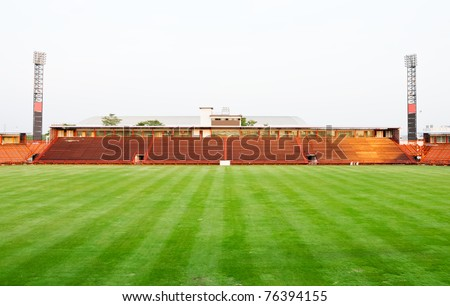 Small football stadium in under construction located on Bangkok,Thailand - stock photo