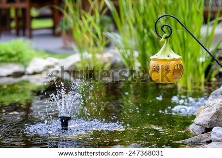 Small fountain in the pond