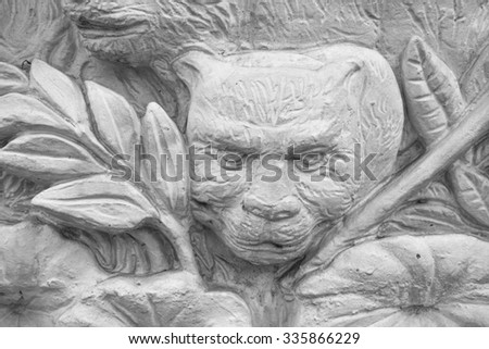 Small fragment the stucco bas-relief in thai stlye, Thailan - stock photo