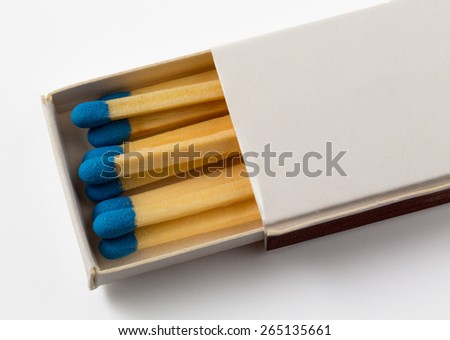 Small free hotel pack or box of matches with white background and blue tips to the match - stock photo