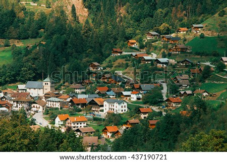 Small French Village in the montain - stock photo