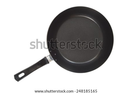Small frying pan isolated on white background seen from above - stock photo