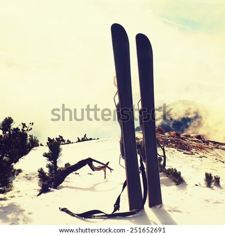 Small fun skis in snow at mountains, nice sunny winter day at peak  - stock photo