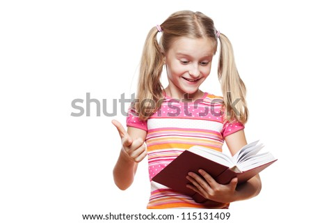 Small funny girl reading a book on white background.