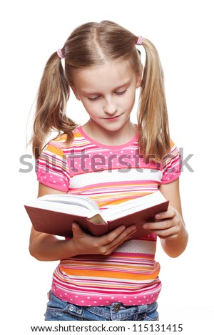 Small funny girl reading a book on white background. - stock photo