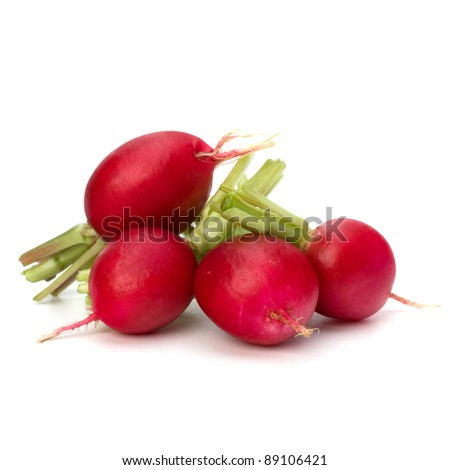Small garden radish isolated on white background