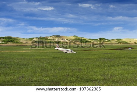 Small general aviation aircraft crash just before Provincetown airport - stock photo