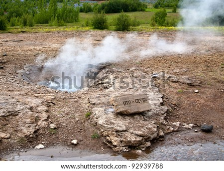 Small geyser in the geothermal area, Iceland