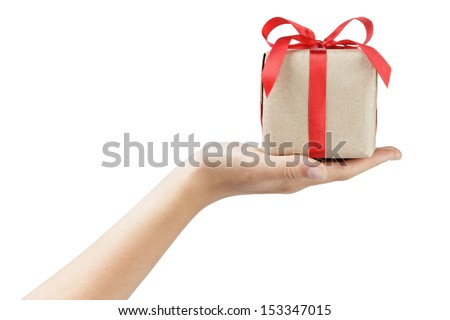 small gift box with ribbon bow in female hand, isolated