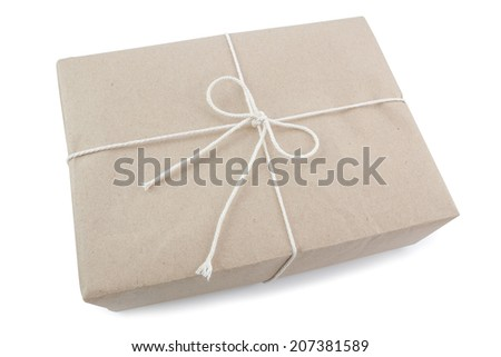 Small gift isolated on a white background. - stock photo