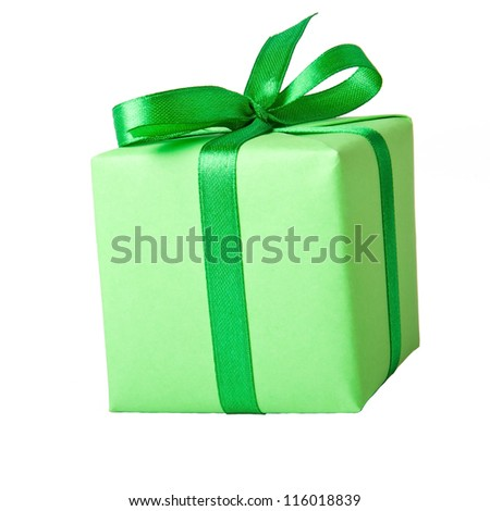 small gift with green ribbon on a white background - stock photo