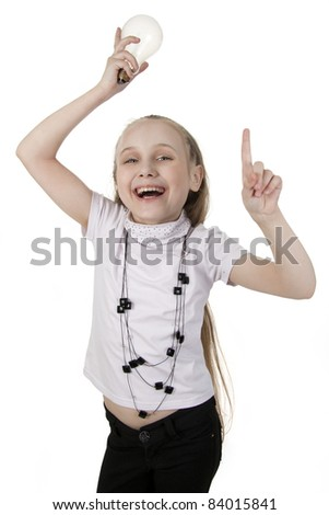 Small girl and her large crazy idea - stock photo