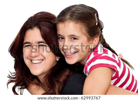Small girl and her young latin mother hugging and laughing isolated on a white background - stock photo