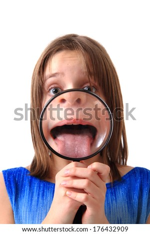 small girl and old phone - stock photo