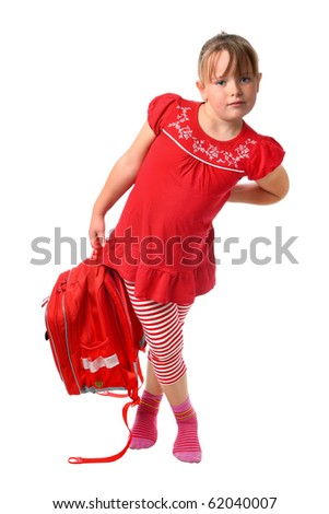 Small girl carrying heavy school bag isolated on white - stock photo