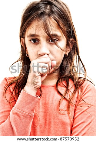 Small girl coughing isolated on a white background - stock photo