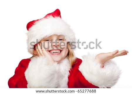 Small girl dressed as santa claus holdes palm for ad copy-space. Isolated on white background. - stock photo