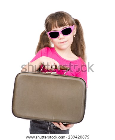 small girl holding bag. isolated on white background - stock photo