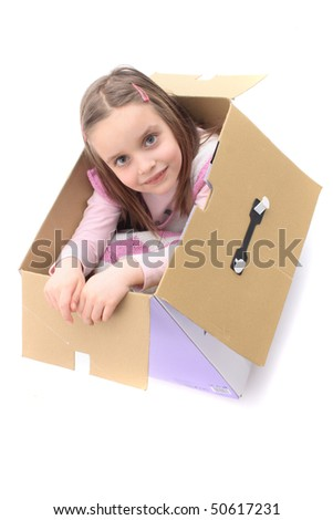small girl in the box - stock photo