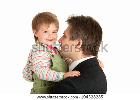 small girl on the hands of father businessman - stock photo