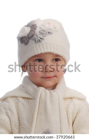 small girl on white