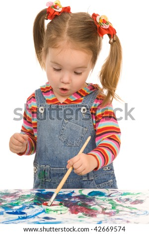small girl paint on a white background - stock photo