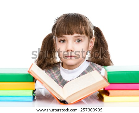 small girl reading book. isolated on white background - stock photo