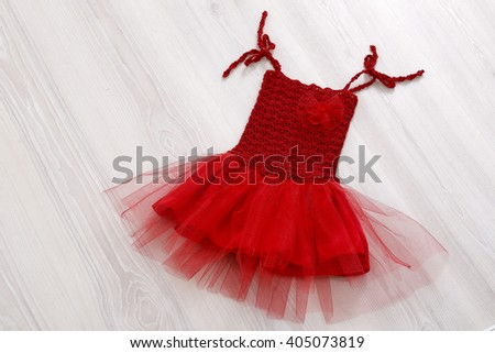 Small girl red dress - stock photo