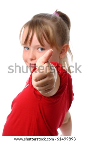Small girl showing thumbs up gesture with thumb focused isolated on white - stock photo