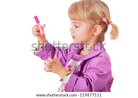 Small girl with lipstick isolated on white background