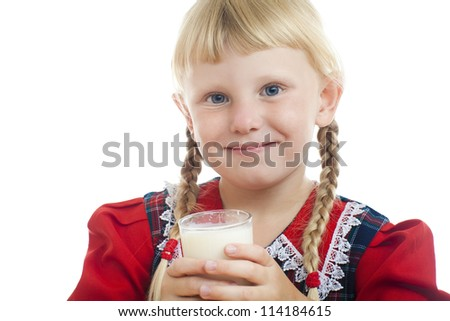 small girl with milk - stock photo