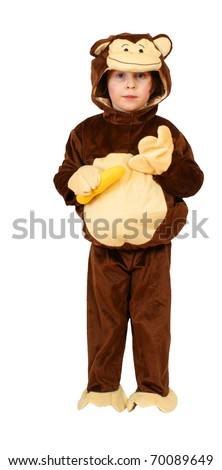 Small girl with monkey suit and banana, isolated on background - stock photo
