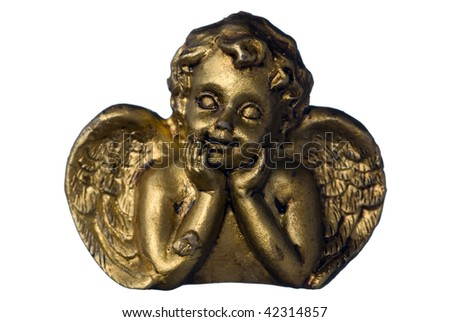 Small Gold Angel isolated on white background - stock photo