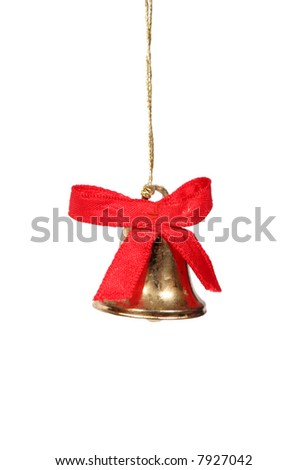 small gold christmas bell with isolated background