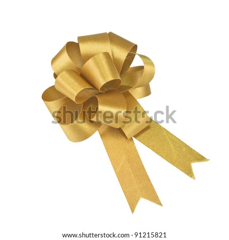 small gold gift bow on white  background