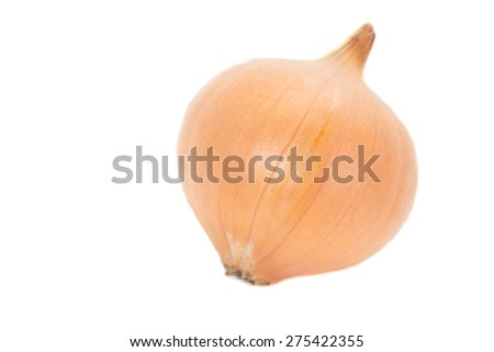 Small gold onion isolated on white background