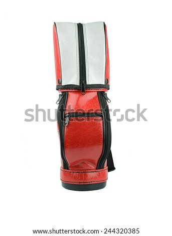 small golf bag isolated on white background - stock photo
