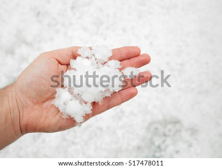 Small grains of hail in the hand.