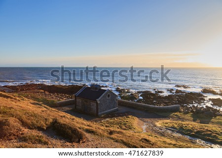 Small Granite House Beside North Sea Cliff in Aberdeen Scotland