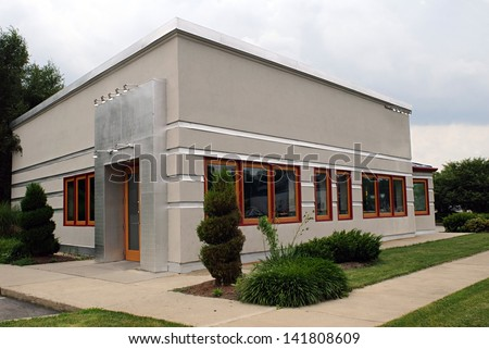 Small Gray Business Building - stock photo