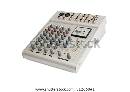 Small gray sound mixer console isolated - stock photo