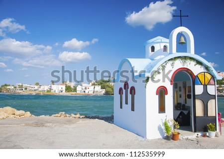 Small greek church in Crete - stock photo