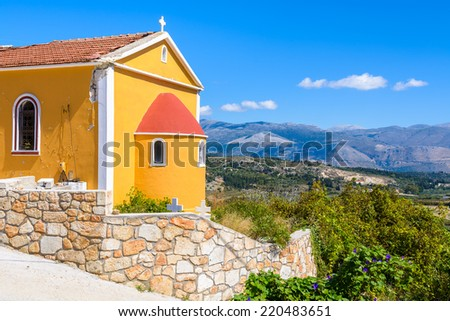 Small Greek church in mountain area of Kefalonia island, Greece  - stock photo